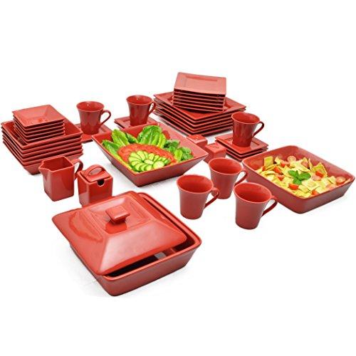 10 Strawberry Street NOVA-45SQ-RED-BB 45 Piece Nova Square Dinner Set Red