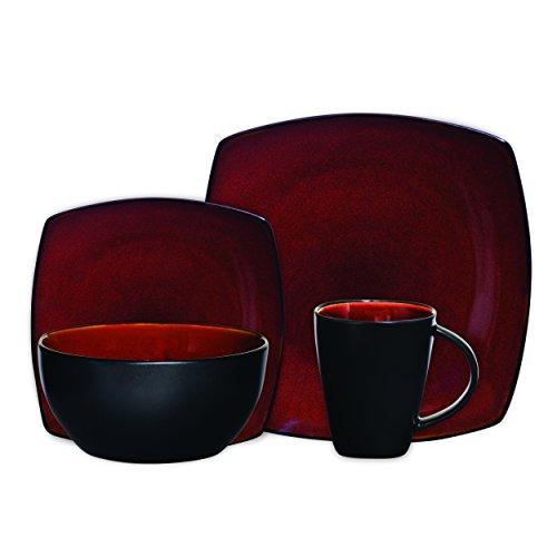 Gibson Soho Lounge 16-Piece Square Reactive Glaze Dinnerware Set  Red