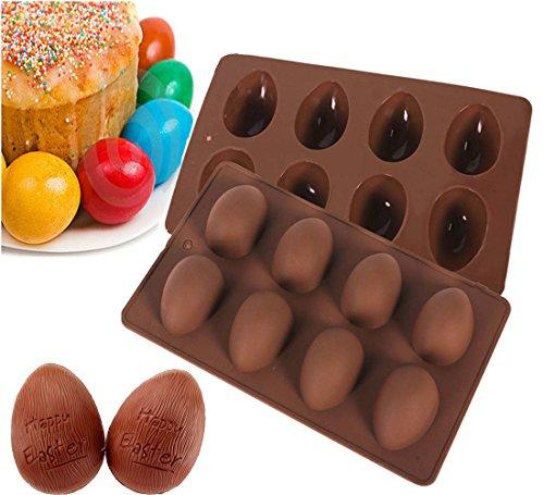 Megrocle Random color 8 holes Egg-shaped Truffles ChocolateCake moldchocolate moldPudding moldSilicone moldIce tray moldbaking mold Easter Egg Silicone Cake Baking MoldSet of 2