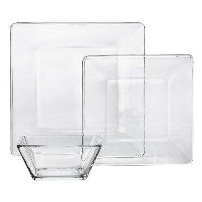 Libbey Tempo Square Glass Dinnerware Set of 12