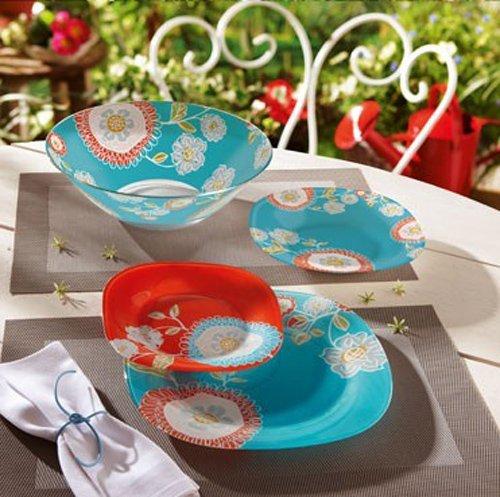 Luminarc Silene Unbreakable Tempered Glass 19-pcs Dinnerware Set Blue Red colored vintage dish set