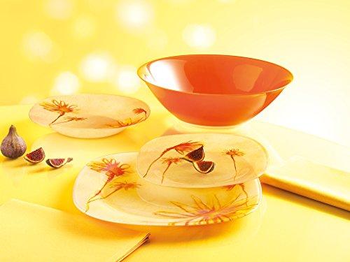 Luminarc Sunrise Unbreakable Tempered Glass 19-pcs Dinnerware Set Yellow colored vintage dish set