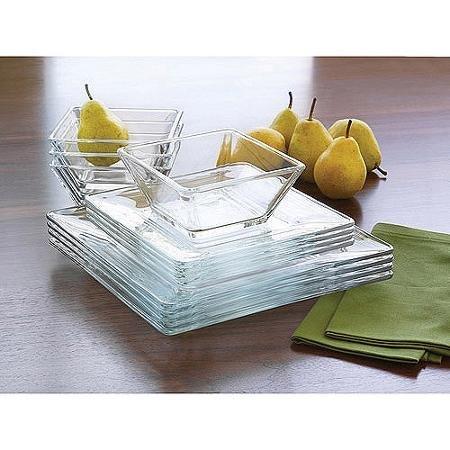 Mainstays 12-Piece Square Glass Dinnerware Set 4 x Dinner Plates 4 x Salad Plates 4 x Bowls by Mainstays