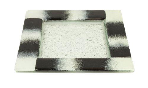 Turgla Glass Dinnerware Square Appetizer Plate Black and White