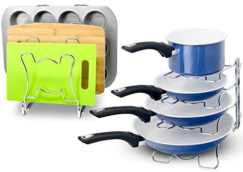 2 Pack - SimpleHouseware Kitchen Cabinet Pan and Pot Cookware Organizer Rack Holder Chrome