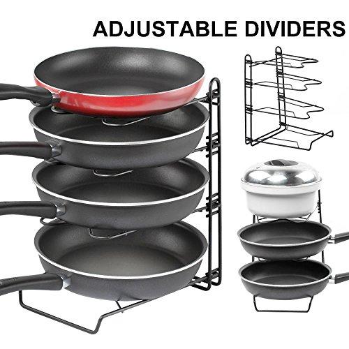 Height Adjustable Pot And Pan Organizer RackGUSGU Detachable Kitchen Cabinet Organizer Holders For Pan Lids