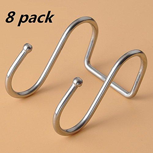8-Pack exec Kitchen Tools Flat S Shaped Hooks Brushed Stainless Steel Metal Kitchen Pot Pan Hanger Storage Hanging Rack Double Round