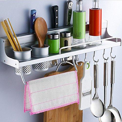 Multifunctional Wall Hanging Aluminum Kitchen Rack of Wall Shelf Condiment Bottle RackUtensilPotPan Hanger Hook Pot Organizer Storage Rack and Other Kitchen Gadgets 2 Cups