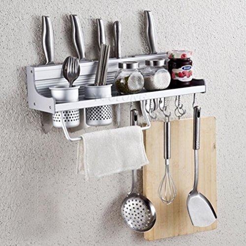Wall Mounted Kitchen Spice Rack w Utensil  Pot  Pan Hanger Hooks Silverware Caddy Knife Slots 50cm-2 cups
