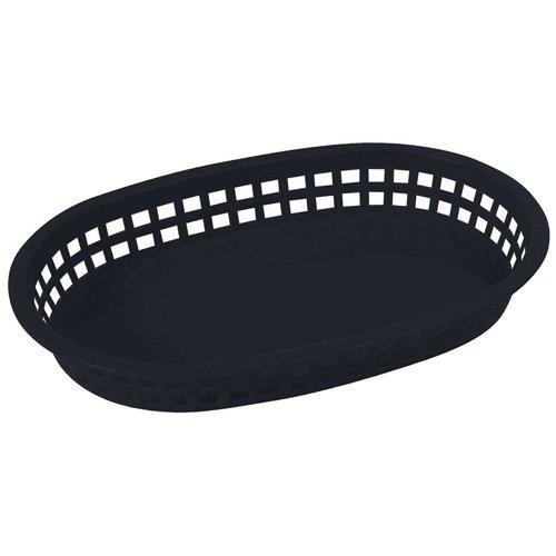 Winco PLB-K 10-34 x 7-14 x 1-12 Black Premium Oval Bread and Fruit Basket Platter Tabletop Serving Display Snacks Baskets 1 Dozen Pack