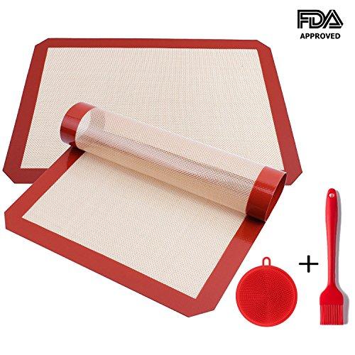 Ousum Premium Silicone Baking Mats set of 2 Large Professional Non-Stick Cookie Mats of FDA Approved Silicone Half Sheet Size BONUS Sponge Brush