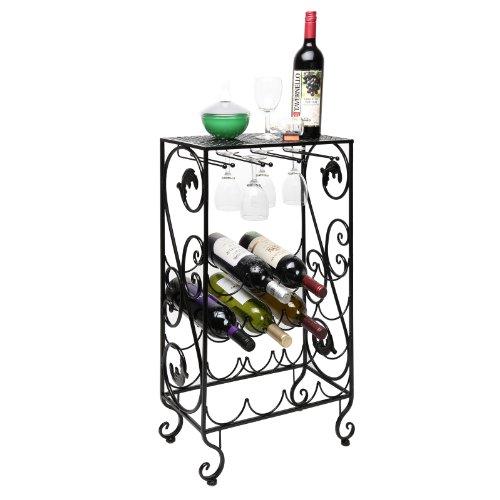 16 Bottle and 8 Wine Glass French Grapevine Motif Wine Storage Organizer  Display Rack