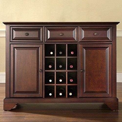 Crosley Furniture LaFayette Buffet ServerSideboard Cabinet with Wine Storage Vintage Mahogany