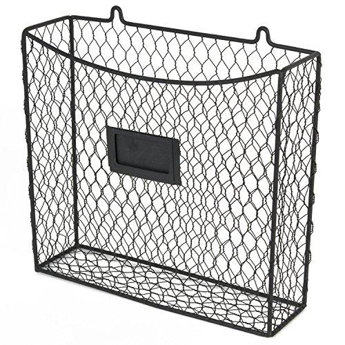 WALL35 Country Style Chicken Wire Basket Kitchen Utensil Organizer Wall Mounted Storage Drawer Counter Top Organization Black
