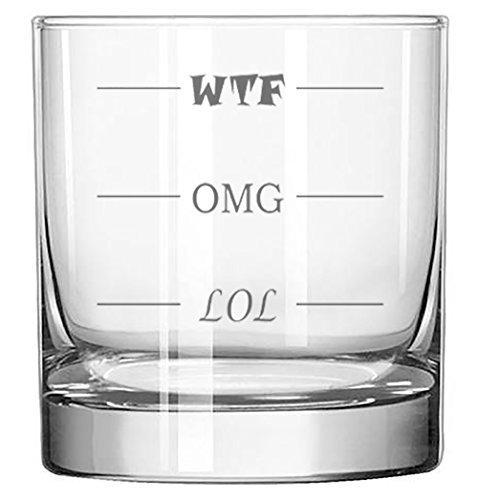 Lol-omg-wtf Funny Rocks Glass - Finally A Rocks Glass For Every Mood! 11 Oz Highball Glass