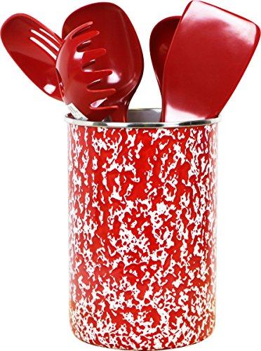 Calypso Basics by Reston Lloyd Enamel on Steel Utensil Holder and 5 Piece Utensil Set Red Marble