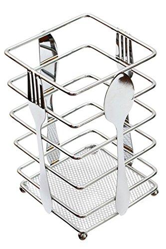 Utensil Holder Kitchen Flatware Forks Cutlery Storage Organizer Chrome Steel Suqare 39L x 39W x 63H