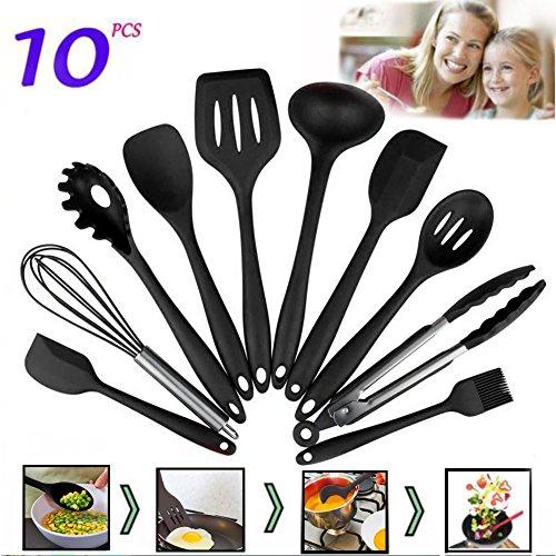 10 Pieces Silicone Cooking Utensils Sets Non-stick Heat Resistant Hygienic Kitchen Gadgets Black