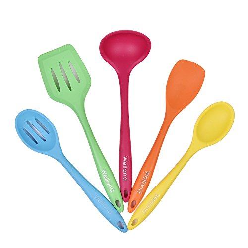 Welland 5-Piece Premium Silicone Kitchen Utensil Set Including 1 Turner2 Spoons 1 Spatula 1 Ladle - Heat Resistant Cooking Utensils