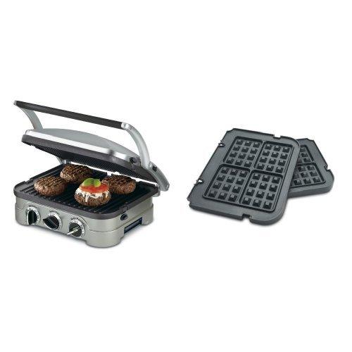 Cuisinart GR-4N 5-in-1 Silver Griddler Black Dials and Waffle Plates Bundle