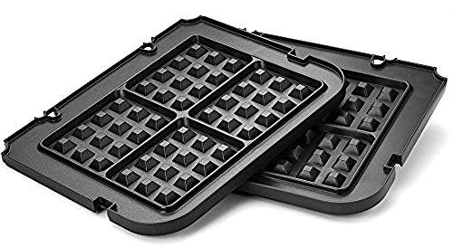 Kitchen Maestro Griddler Waffle Plates for Cuisinart Griddler – Nonstick Dishwasher Safe Lock-In Place Black made for GR-4N and GRID-8N Series