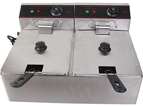 Giantex 5000w Electric Countertop Deep Fryer Dual Tank Commercial Restaurant Steel