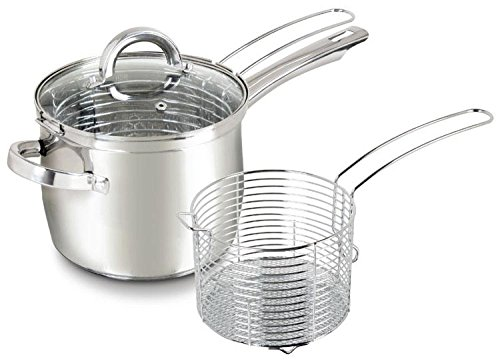 Stainless Steel Stovetop Deep Fryer Pot with Frying Basket Set 4 Quart