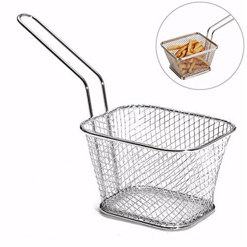 Mini Fry Baskets Stainless Steel Fryer Basket Strainer Serving Food Presentation Cooking Tool French Fries Basket
