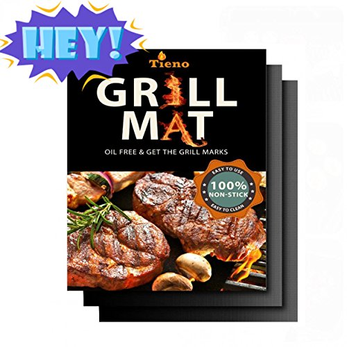 TIENO Non-Stick BBQ Grill Mats 16 x 13 Inches 020mm Thick for Charcoal Electric and Gas Grills FDA Approved PFOA BPA FREE Set of 2