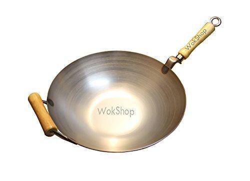 12 inch Carbon Steel Wok w Helper Handle flat bottom by Wok Shop