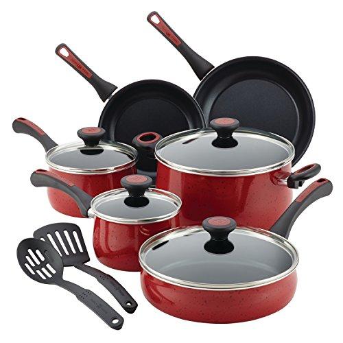 Paula Deen 12 Piece Riverbend Aluminum Nonstick Cookware Set Red Speckle
