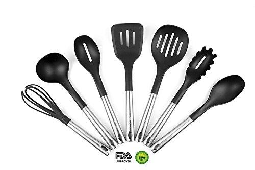 7 Pcs - Magnetic Cooking Utensils set - Kitchen Utensils - Nonstick Utensils - Nylon and Stainless Steel - Solid Spoon Slotted Spoon Pasta Server Ladle Skimmer Slotted Whisk 410 ⁰F
