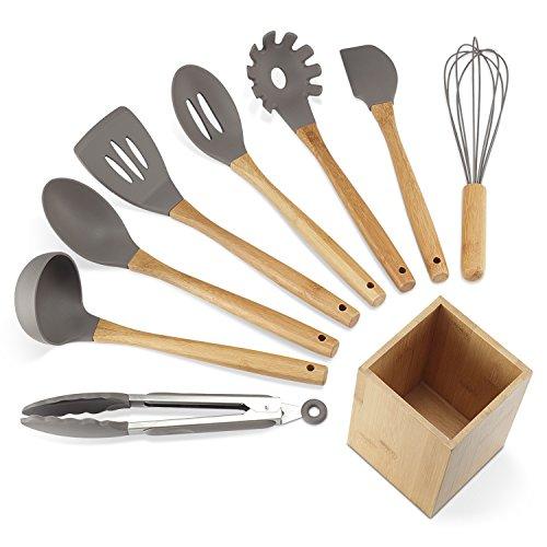 NEXGADGET Premium Silicone Kitchen Utensils 9-Piece Cooking Utensils Set with Bamboo Wood Handles for Nonstick Cookware Utensils Holder Included