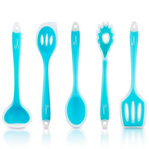 Samvi Silicone Cooking Utensils set - 5 Piece Serving Utensils - Non stick Utensils set - Ocean Blue Kitchen Utensils set