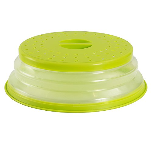 OUCHAN Collapsible Microwave Plate Cover Colander Strainer for Fruit VegetablesBAP Free and Non-toxic Green