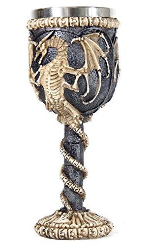 Medieval Dragon Skeleton Ossuary Goblet Wine Chalice Resin Body Stainless Steel