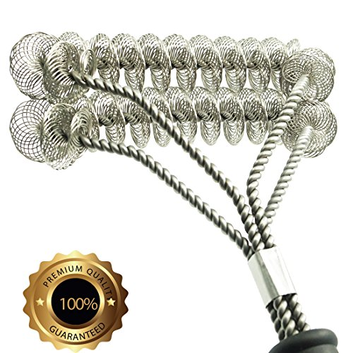 Grill Brush Bristle Free- BBQ Grill Cleaning Brush And Scraper- Safe 18 Weber Grill Cleaning Kit for Stainless Steel Ceramic Iron Gas Porcelain Barbecue Grates