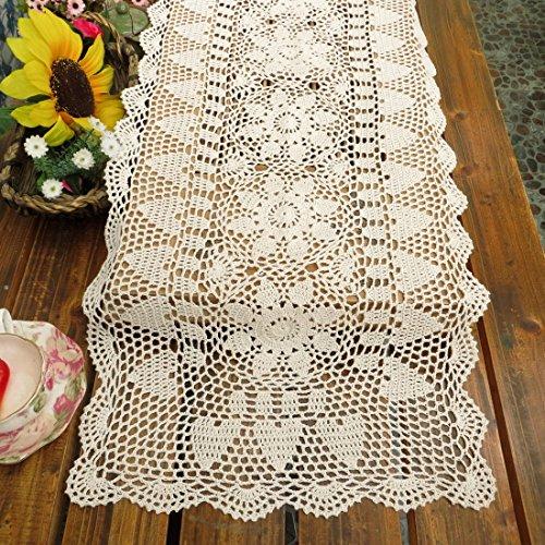kilofly Handmade Crochet Lace Rectangular Table Runner 15 x 36 Inch White