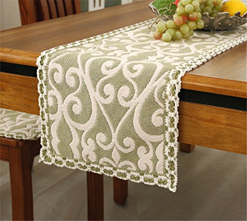 Brief style 100 cotton handmade cream flower green table runner 12 63 approx