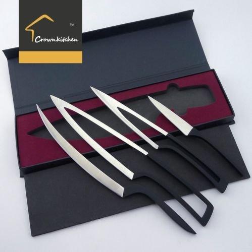 5cr17mov Deglon Meeting Design knife 4PC SET - Premium Stainless steel Chef Knife Set- Best Razor Sharp Multipurpose for Precise Slicing Carving Cutting Chopping cooking knife set