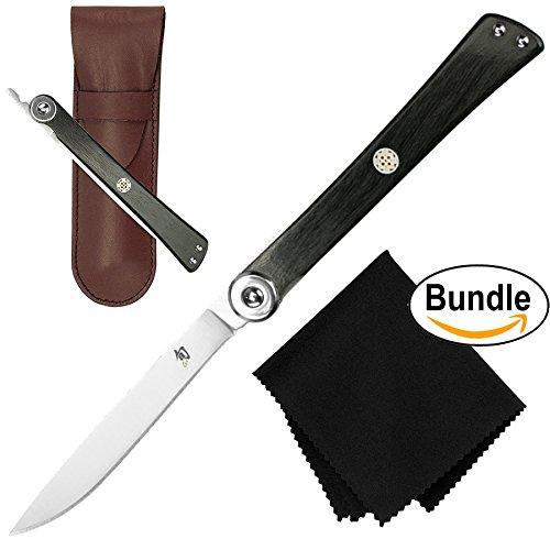 Shun DM5900 Higo Nokami Gentlemans Personal Folding Stainless Steel Steak Knife Silver Leather Sheath Premium Microfiber Cleaning Cloth Bundle