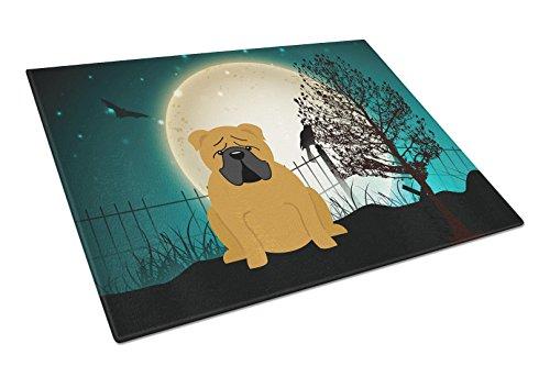 Carolines Treasures BB2312LCB Halloween Scary English Bulldog Red Glass Cutting Board Large Multicolor