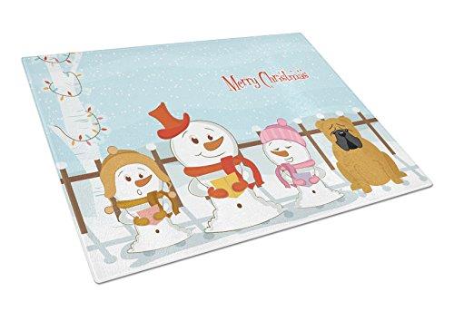 Carolines Treasures BB2453LCB Merry Christmas Carolers English Bulldog Red Glass Cutting Board Large Multicolor