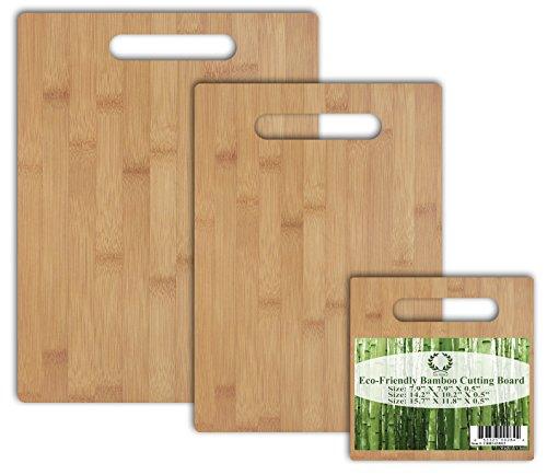 Da Vinci Natural Bamboo 3-Piece Cutting Board Set with Handle A 165x118 board a 15x11 board and a 79x79 board