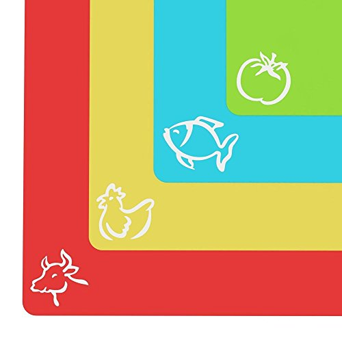【Flexible Cutting Mats】Plastic Cutting Board With Food Icons Set of 4 Perfect Mats for Cutting by Dylan Excellent