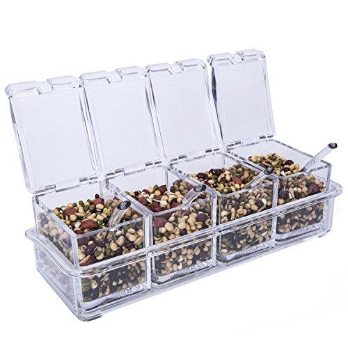 Lebather Square Acrylic Spice Bottle Sets with 4 Spoons Seasoning Pots Spice Racks Kitchen Storage Organizer Sets of 4