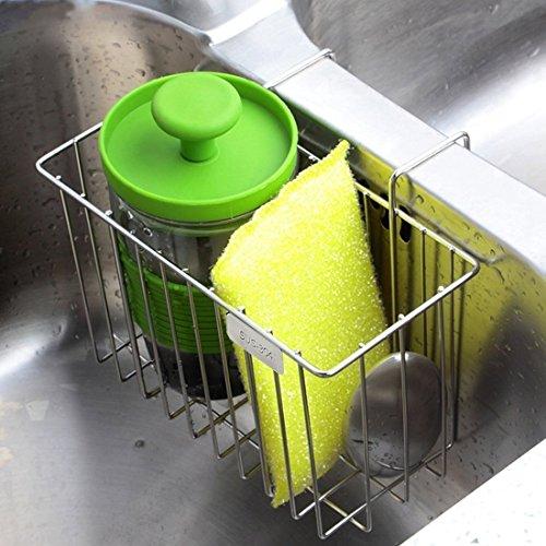 Silkclo Kitchen Sink Caddy Sponge HolderStainless Steel Brush Soap Dishwashing Liquid Drainer Sink RackKitchen Sink Organizer - Silver Color