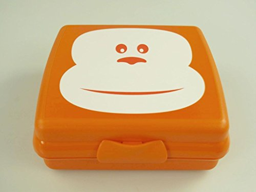 Tupperware A126 10067 Sandwich Box Orange Monkey Design