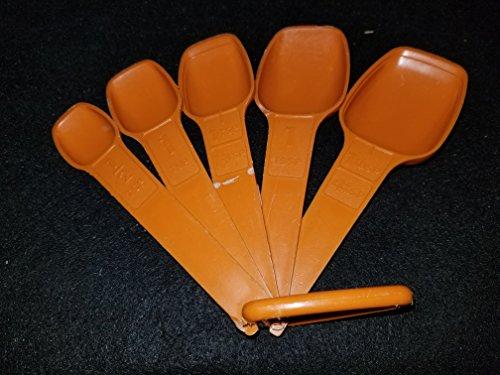 Vintage 5pc Tupperware Orange Measuring Spoons