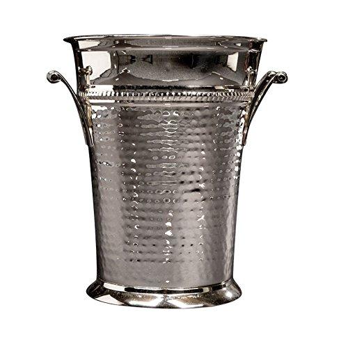 Sleek Brass Champagne Bucket - Nickel Polish Wine Bottle Cooler - Large Hammered Champagne Ice Bucket